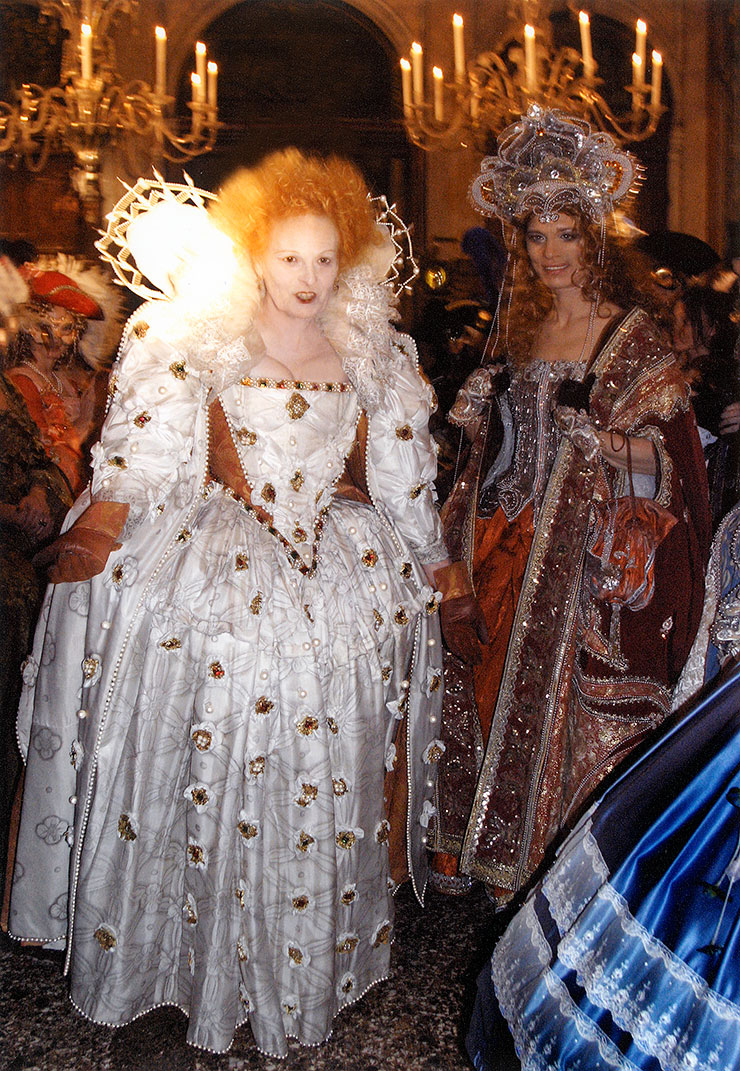 Venice Carnival - a copy of Elizabeth I white dress made by a student when I was teaching in Berlin