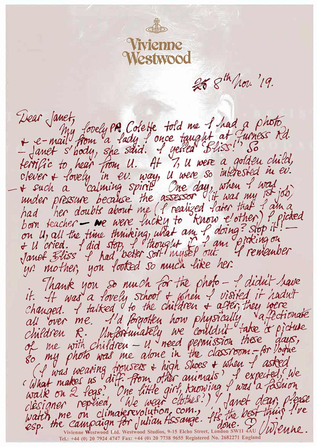 Vivienne's letter to Janet Bliss
